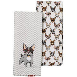 2pk Hand Towel Set ◈ Frenchie/Boston Terrier